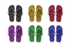 Colored collection Sandals. Colored collection of six beach sandals Royalty Free Stock Images