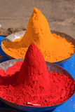 Colored colorful powder kumkum on Indian bazaar Royalty Free Stock Photo