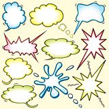 Colored Comic book inspired thought bubbles Stock Images