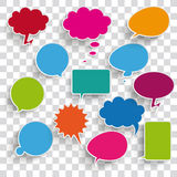 Colored Communication Bubbles Transparent Shadows. Infographic design with colored communication bubbles on the checked background vector illustration