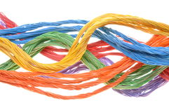 Colored computer cables Stock Images