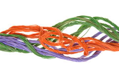 Colored computer cables Stock Photos