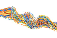 Colored computer cables Stock Photo