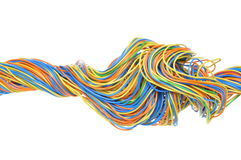 Colored computer cables. Isolated on white background Royalty Free Stock Image