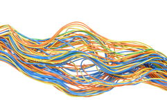 Colored computer cables. Isolated on white background Stock Photo