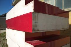 Colored concrete blocks. Pesaro, Italy stock images