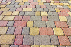 Colored concrete flooring assembled on a substrate of sand. Type of flooring permeable to water Stock Photos
