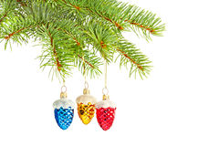 Colored cones on Christmas tree Stock Image