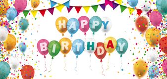 Colored Confetti Balloons Festoons Header Happy Birthday Stock Photography