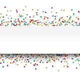 Colored confetti with free white banner for text. Vector illustration of multi colored confetti with free white banner for text for carneval or party time on stock illustration
