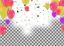 Colored confetti with ribbons and balloons on the white. Eps 10. Colored confetti with ribbons and balloons on the white Royalty Free Stock Photography