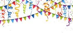 Colored confetti, streamers and garlands background. Vector illustration of colored confetti, garlands and streamers on white background for party or carnival vector illustration