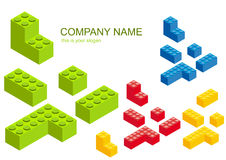 Colored Construction Blocks. Illustration of colored snapping blocks separated and isolated on a white background Stock Photo