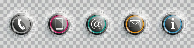 Colored Contact Buttons With Halftone Transparent Stock Image