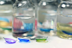 Colored contact lenses. Close up royalty free stock photos
