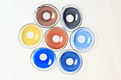 Colored contact lenses. Close up royalty free stock photography