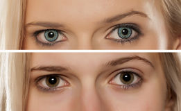Colored contact lenses Royalty Free Stock Photo