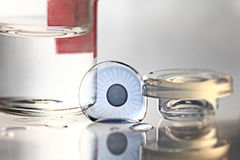 Colored contact lenses. Vision close up royalty free stock image