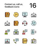Colored Contact us, call us, feedback icons for web and mobile design pack 1 Royalty Free Stock Images