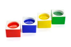 Colored containers of paint Stock Photography