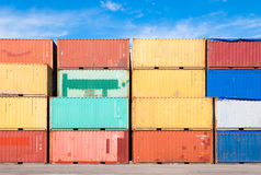 Colored containers. Stacked colored containers at the harbor of Catania Royalty Free Stock Photos