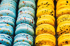 Colored cookies French macaroons series, variety. Stock Photography