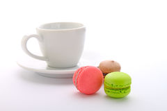 Colored cookies  macaroon  with a cup and saucer Stock Image