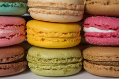 Colored cookies stacked macaroons. Royalty Free Stock Image