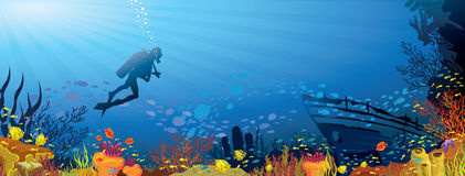 Colored coral reef with fish and diver. Colored coral reef with fish and silhouette of diver on blue sea background Stock Images