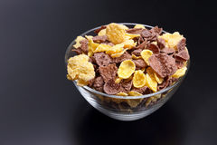 Colored corn flakes in a bowl Stock Image