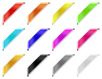 Colored corner ribbons. 12 shiny colored corner ribbons with shadows isolated on white background stock illustration