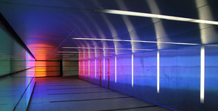 Colored corridor. Multiple colored subway corridor with neon lights Royalty Free Stock Photos