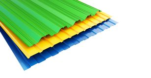 Colored corrugated metal sheet on white background. 3d Illustrations Royalty Free Stock Images