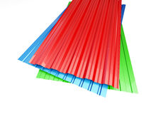 Colored corrugated metal sheet. On white background. 3d Illustrations Royalty Free Stock Photography