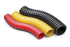 Colored corrugated pipe for installation of electrical cable. Pl Royalty Free Stock Image
