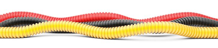 Colored corrugated pipe for installation of electrical cable. Pl Stock Image