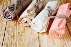 Colored cotton towels for the kitchen Royalty Free Stock Images