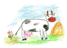 Colored cow. Happy cow. art of small artist Royalty Free Stock Images