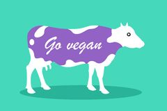 Colored cow, cattle and livestockis labeled by Go vegan text vector illustration