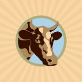 Colored cow label. Colored vector label with a cow farm Stock Photos