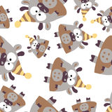 Colored cows in retro style, seamless pattern,  Royalty Free Stock Images