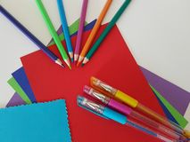 Arts and Crafts Supply, School Supplies royalty free stock photos