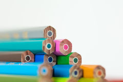 Colored crayon detail. On a white background Royalty Free Stock Image