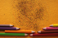 Colored crayon scribbles Stock Photos