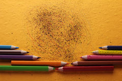 Colored crayon scribbles Stock Photography