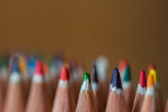 Colored crayon tips. Bunch of coloured crayons tips stock photo