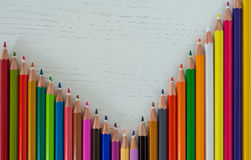 Colored crayon tips. Bunch of coloured crayons tips forming a 90 degree angle royalty free stock photos