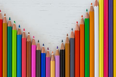 Colored crayon tips. On a white background Stock Images