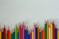 Colored crayon tips. On a white background Royalty Free Stock Photography