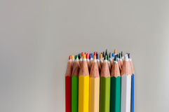 Colored crayon tips. On a white background Royalty Free Stock Images